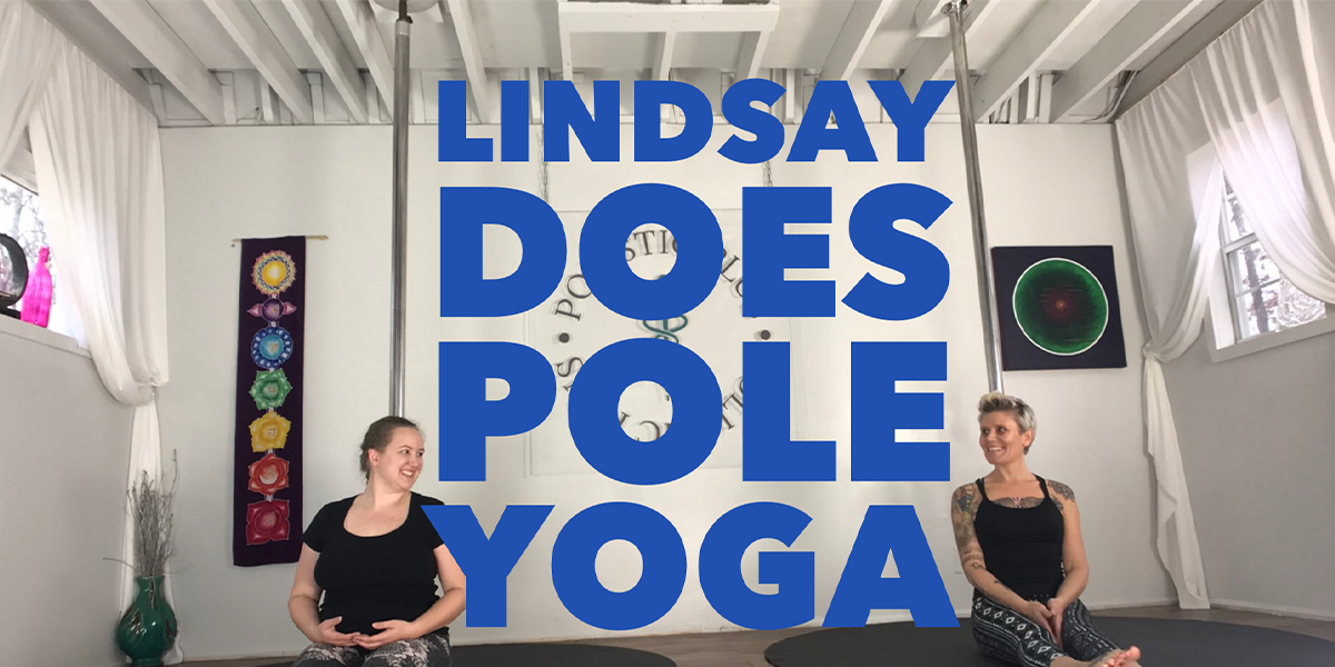 Lindsay does pole yoga
