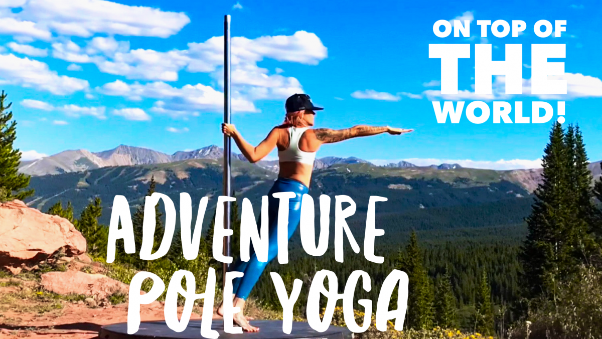 Pole yoga in Colorado Rocky Mountains
